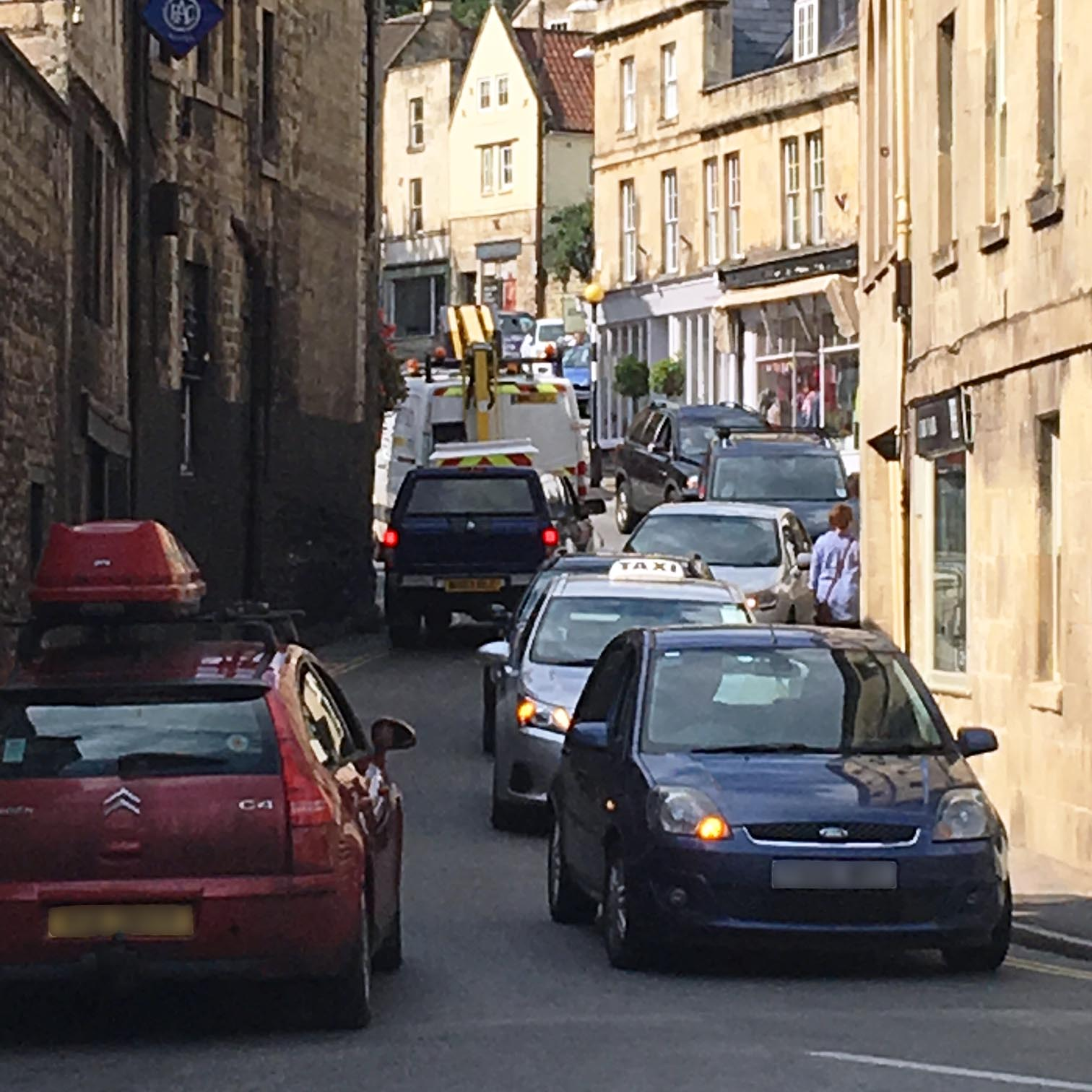 Slow moving traffic in the centre of Bradford on Avon